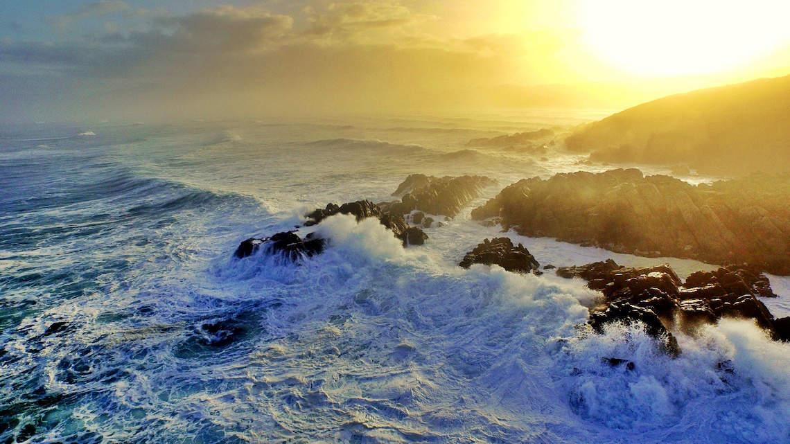 Sunset over Walker Bay De Kelders Gansbaai South Africa