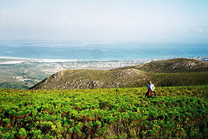 Horse riding through the fynbos near De Kelders South Africa