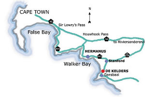 Map from Cape town to Cliff Lodge Guesthouse De Kelders