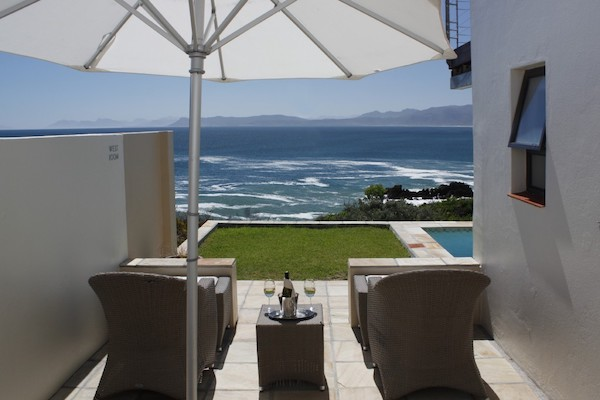West Room deck overlooking Walker Bay in Gansbaai