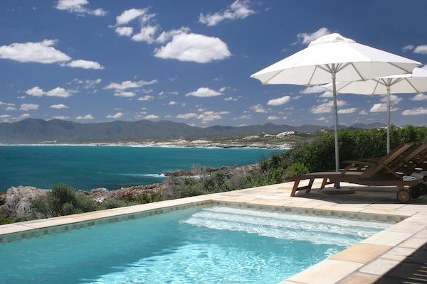 Pool and deck with views over Walker Bay Nature Reserve