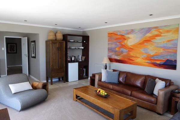 Lounge area of the Ocean Suite at Cliff Lodge De Kelders Gansbaai
