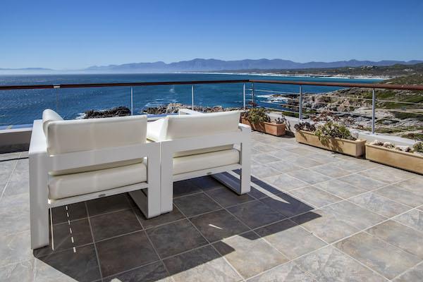 Ocean Suite terrace overlooking Walker Bay and Hermanus